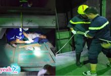 Photo of Cảnh sát đu dây cứu người phụ nữ rơi xuống hố kỹ thuật sâu 8m của thang máy
