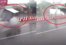 """Photo of Khoảnh khắc ô tô tải """"bay"""" qua dải phân cách với tốc độ kinh hoàng: Xem clip """"toát mồ hôi lạnh"""""""