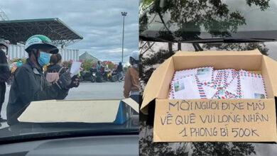 Photo of Clip: Hàng trăm người đi đường về quê tránh dịch được tặng bao thư 500.000 đồng của vị đại gia bí ẩn, ai cũng muốn biết danh tính người đứng sau